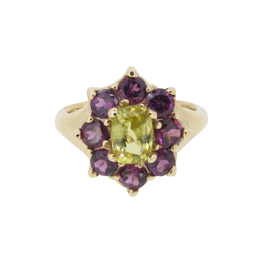 Marilyn ring, 9ct, set with yellow cushion cut sapphire and rhodolite garnets
