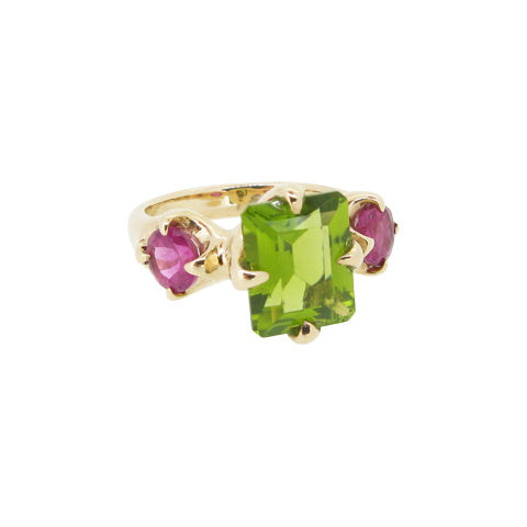 Edwardian Ring, 9ct, set with Peridot and Rubellite tourmaline