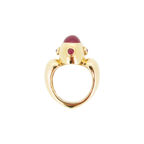 Love Ring, 9ct, set with filled and natural rubies