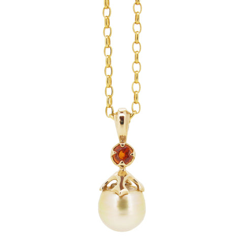 Majesty Obelia pendant, 9ct, set with gold south sea pearl and orange sapphire