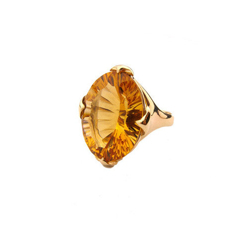 Large Majesty ring set with Fancy Citrine