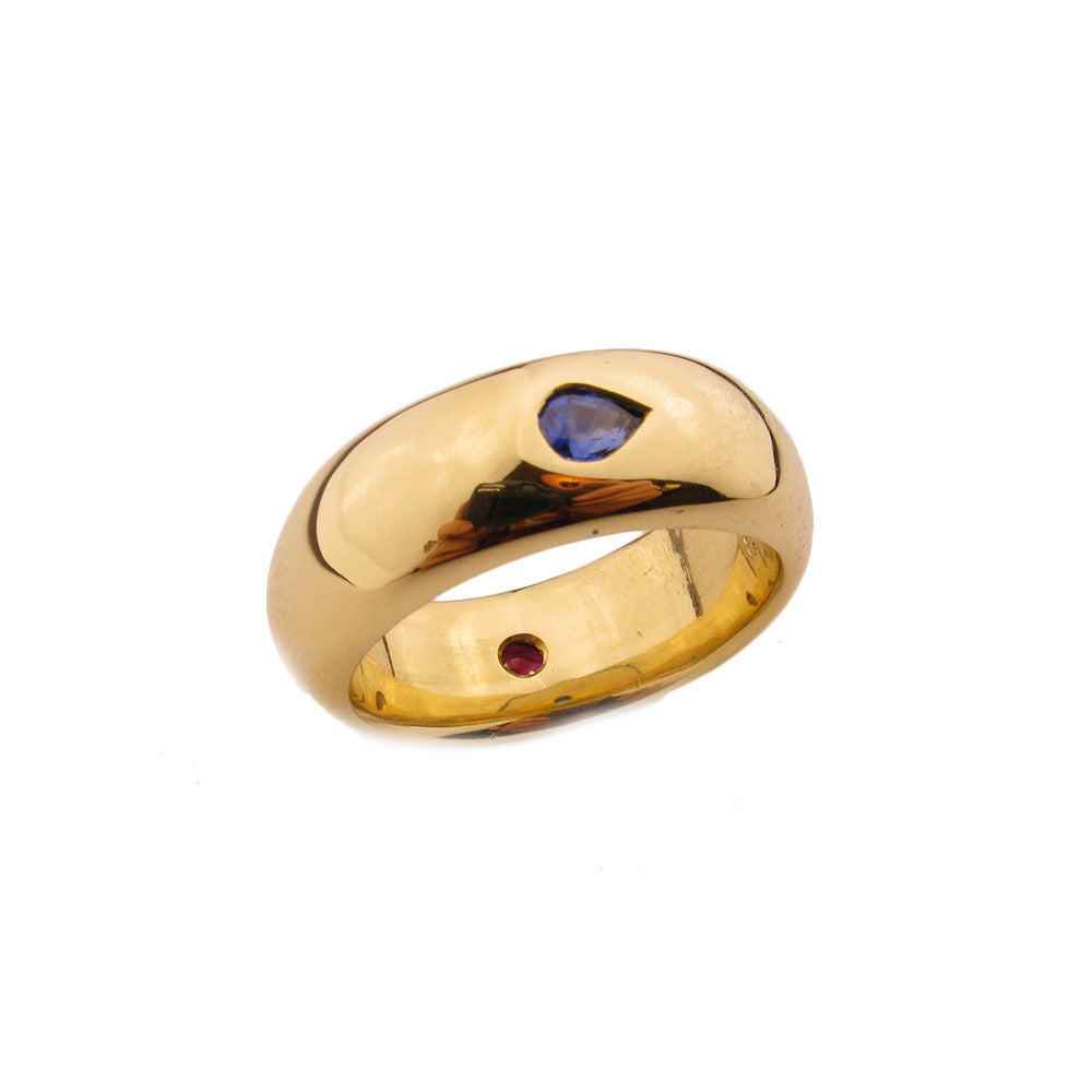 Large Wedding Ring/ruby, sapphire
