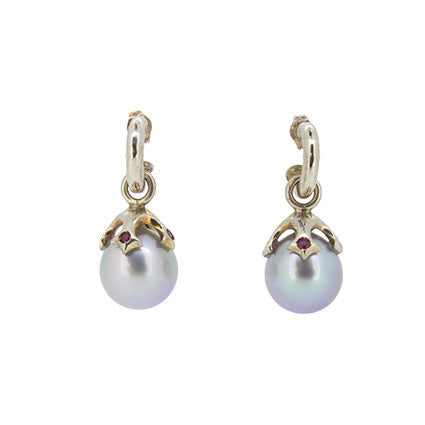 Majesty pearl drops in white gold Silver Tahitian pearls, Rubies on Small Hoop studs