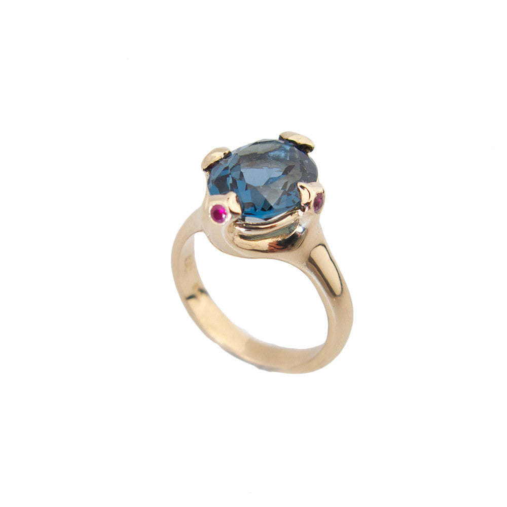 Majesty Ring with London Blue topaz and ruby