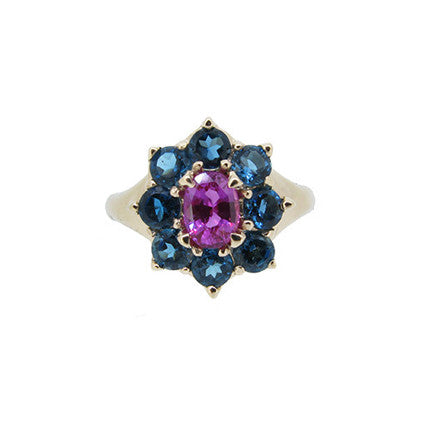 Marilyn Ring/pink sapphire, london blue topaz