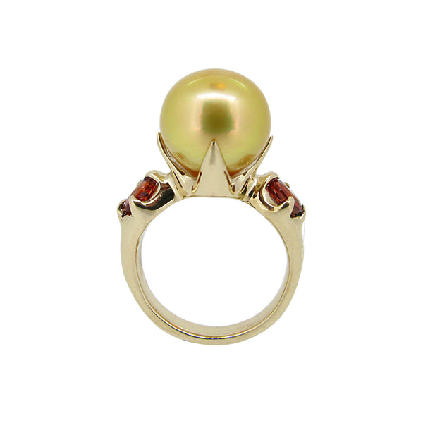 Edwardian Ring with Gold South Sea pearl and orange Sapphires
