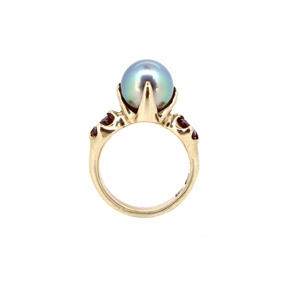 Edwardian Ring with Tahitian Pearl and Rhodolite Garnet