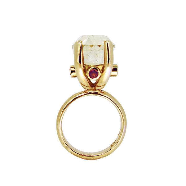The Rock Ring with citrine and ruby