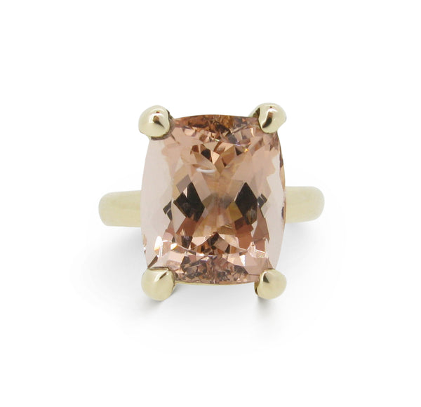 The Rock Ring 9ct, cushion-cut Morganite