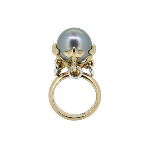 Anchor Ring with Silver Tahitian Pearl