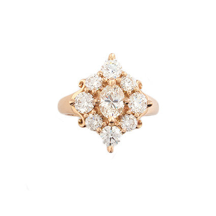 Rita Ring/rose gold, diamonds
