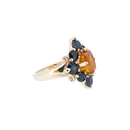 Rita ring/orange and black sapphire