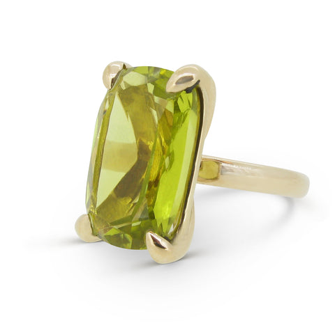 The Rock Ring, 9ct, cushion-cut Lemon Quartz