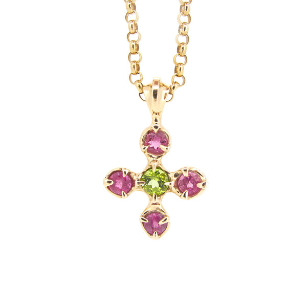Stone Claw Cross peridot, pink tourmaline