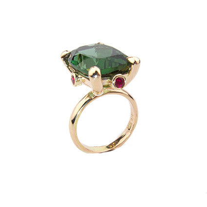 The Rock Ring/green tourmaline, facetted ruby