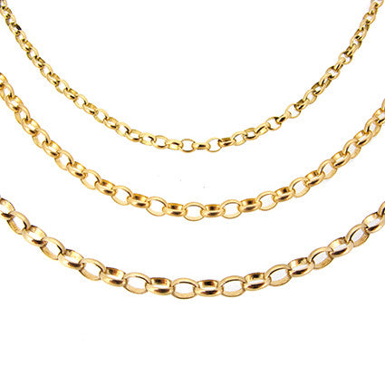 Small Oval Belcher Chain 50cm, 9ct