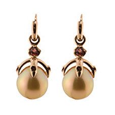 Orb Earrings/gold South Sea Pearls, garnet