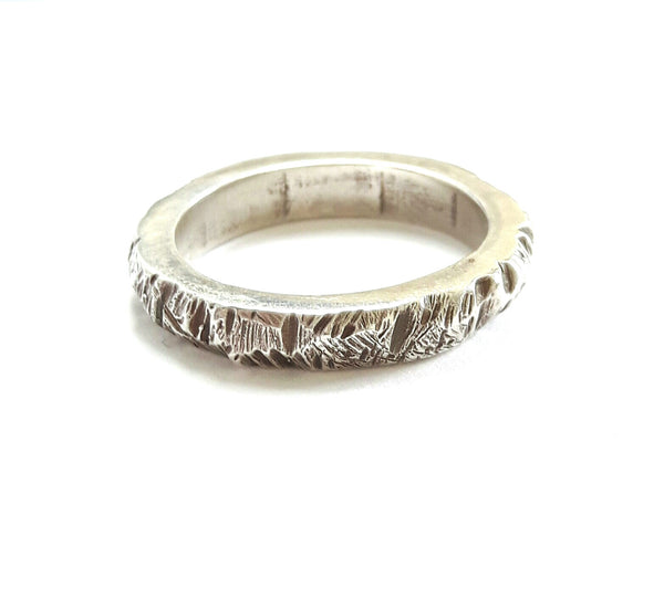 Sterling Silver Bark Textured Band Ring
