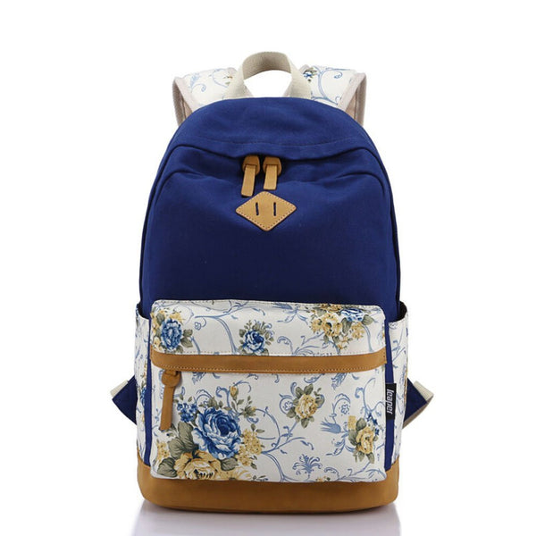 Students Canvas Floral Travel Daughter's Backpack Daypack Bookbag Teen Girls