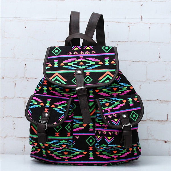 Lightweight Ethnic Daypack Tribal Aztec Canvas Backpack Travel Bag