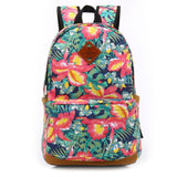 Travel Backpack Canvas Floral Pattern School Bookbag