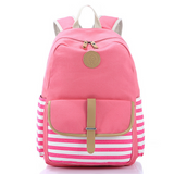 Pink Striped Canvas Backpack Travel Bag Daypack