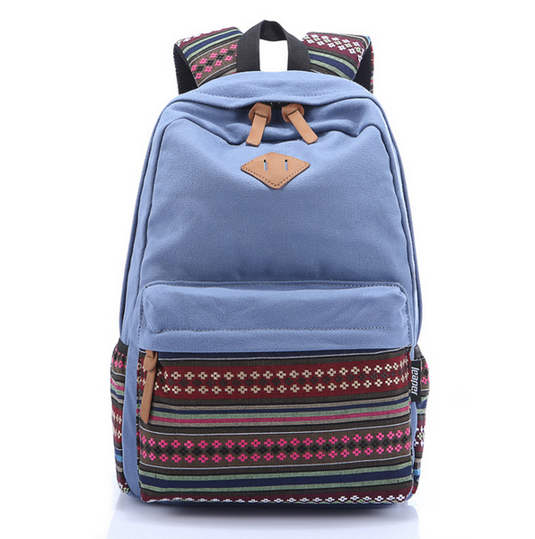 Blue Stylish Ethnic Rucksack Canvas Backpack Travel Bag Daypack