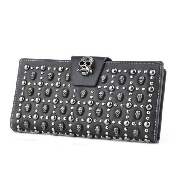 Punk Style Leather Card Holder Skull Wallet Clutch Purse