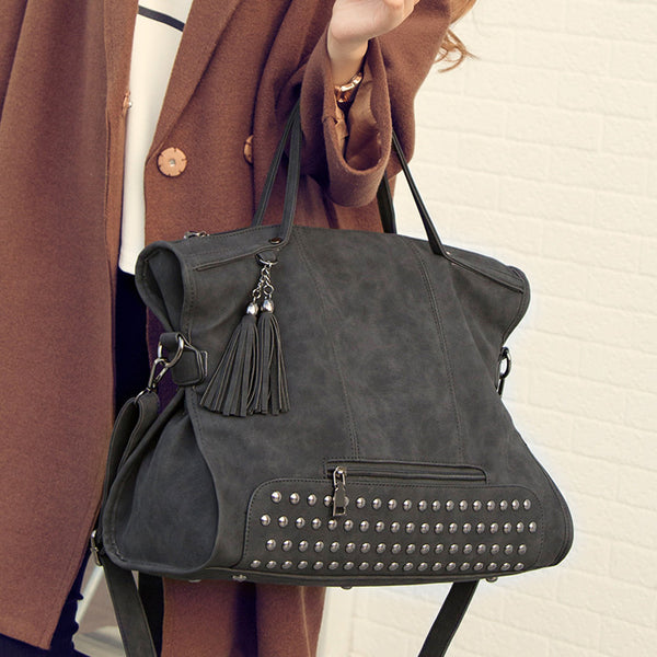 Tassel Punk Large Leather Shoulder Rivets Handbag Messenger Motorcycle Bag Crossbody