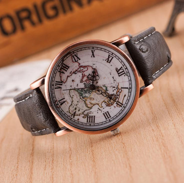 Vintage World Map Prints Leather Strap Band Watch