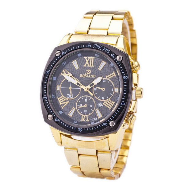 Mens Gold Tone Steel Strap Watch Sports Casual Watch