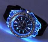 Cool Rhinestones Llight up Jelly Watch