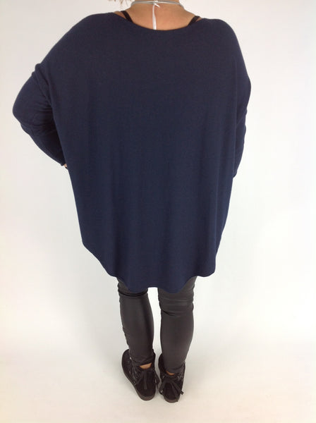 Quirkylagenlook Ava Cosy Long Sleeve in Navy Blue