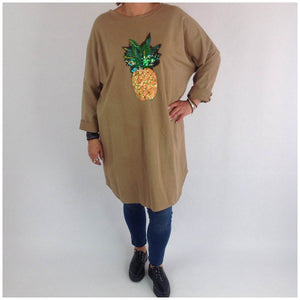 Thick Cotton Pineapple Tunic Top Dress  In Mocha