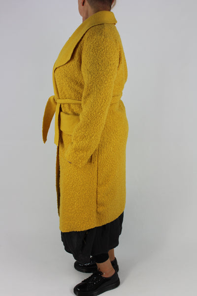 Boucle Coat Belt Pockets Size 12 14 16 In Yellow