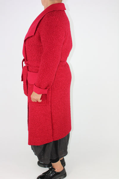 Boucle Coat Belt Pockets Size 12 14 16 In Red