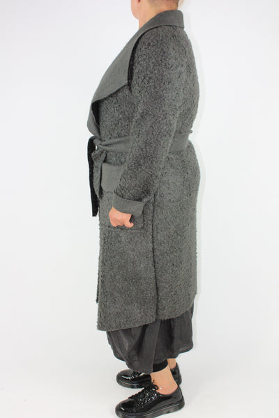 Boucle Coat Belt Pockets Size 12 14 16 In Charcoal