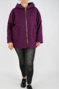 Made in Italy Boucle Jacket in Purple 12 14 16 18 20 22