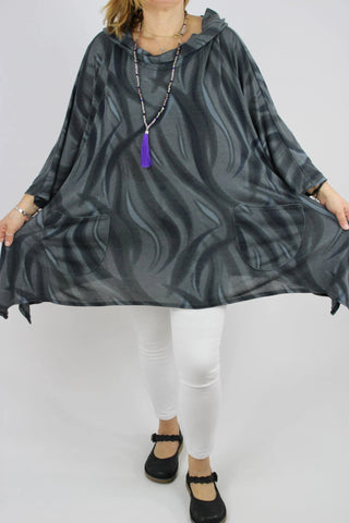 Cosy Top Tunic OneSize 16 18 20 22 24 26 28 30 in Charcoal