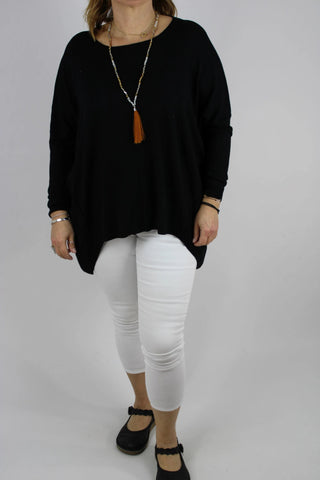 Cosy Long Sleeve Stretchy Jumper Top Knitted in Black