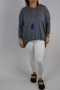 Cosy Long Sleeve Stretchy Jumper Top Knitted in Light Grey