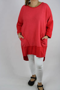 Made in Italy Ribbed Cotton Tunic Top 14 16 18 20 22 24 in Red