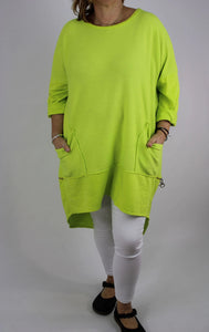 Made in Italy Ribbed Cotton Tunic Top 14 16 18 20 22 24 in Lime Green