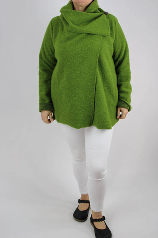 Made in Italy Jacket Cowl Neck Boiled Wool In Lime Green