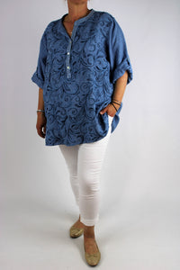 Linen V Neck Shirt Top Tunic Embroidered in Blue