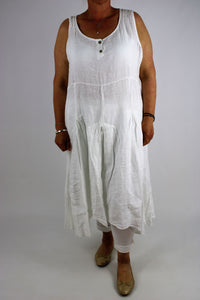 Quirkylagenlook Sleeveless Tank Style Tunic Dress Size 14 16 18 20 22 in White