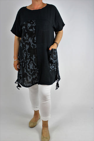 Cotton Summer Top Tunic Size 12 14 16 18 20 in Black