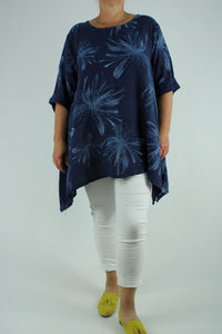 Floral Cotton Top Tunic Size 14 16 18 20 22 in Navy