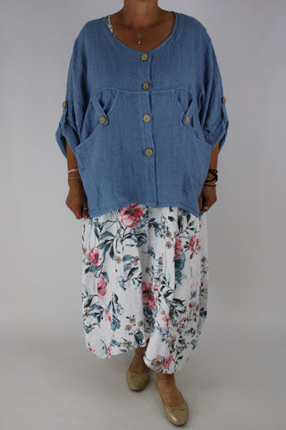 Linen Top Over-Top Summer Jacket Pockets Plus Size 14 16 18 22 24 In Denim