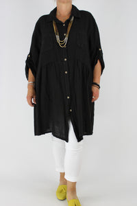 Linen Shirt Top Tunic Dress Plus Size 14 16 18 20 22 24 in Black